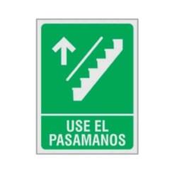 """SE?ALAMIENTO """"USE EL PASAMANOS"""" ESCALERA SUBE 18X24"""