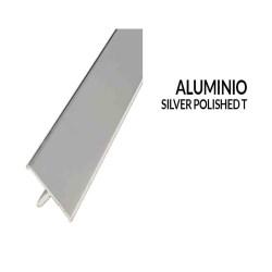 Perfil aluminio plata 10 milimetros 2.44 metros greda
