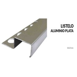 Perfil listelo aluminio plata 10x25 milimetros 2.44 metros greda