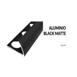 Perfil aluminio negro mate 10 milimetros 2.44 metros greda