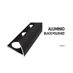 Perfil aluminio negro brillo 10 milimetros 2.44 metros greda