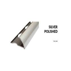 Perfil aluminio plata brillo 10 milimetros 2.44 metros greda