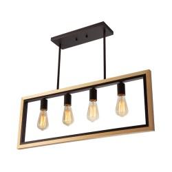 Lampara colgante 4 luces e27 madera acero lumimexico 32172-2