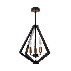 Lampara colgante 3 luces e12 negro o bronce lumimexico 32161-2