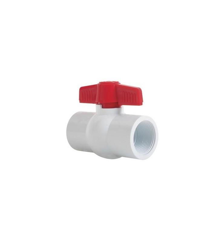 "VALVULA BOLA PVC C-40 ROSC 1-1/2"" No. T1-015WTE"