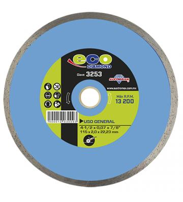 """DISCO DE DIAMANTE DE RIN CONTINUO (DDRC) 4-1/2""""X0.072""""X7/8"""" No. 3253"""